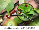blended green smoothie drink... | Shutterstock . vector #641543338