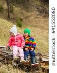 happy two little kids friends... | Shutterstock . vector #641552080