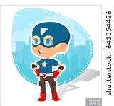 vector   superhero kid boy... | Shutterstock .eps vector #641554426