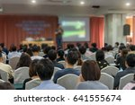 speakers on the stage with rear ... | Shutterstock . vector #641555674