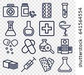 pharmacy icons set. set of 16... | Shutterstock .eps vector #641564554