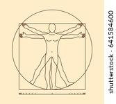 leonardo da vinci vitruvian man ... | Shutterstock . vector #641584600