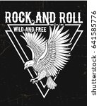 rock and roll typography with... | Shutterstock .eps vector #641585776