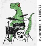 rock star dinosaur illustration ... | Shutterstock .eps vector #641585788