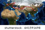 one belt one road route map ... | Shutterstock . vector #641591698