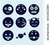 set of 9 feeling filled icons... | Shutterstock .eps vector #641602384