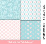 pink and blue patterns... | Shutterstock . vector #641604133