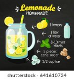 recipe of homemade lemonade on... | Shutterstock .eps vector #641610724