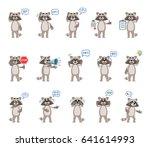 set of cartoon raccoon... | Shutterstock .eps vector #641614993