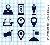 set of 9 gps filled icons such...