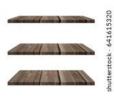 3 wood shelves table isolated...   Shutterstock . vector #641615320