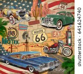 vintage route 66  poster. | Shutterstock .eps vector #641624740