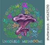 paxil mushroom in engraved... | Shutterstock .eps vector #641625250