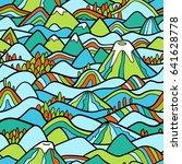 landscape pattern. vector... | Shutterstock .eps vector #641628778