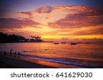beach senggigi at the sunrise... | Shutterstock . vector #641629030