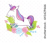 magic cute unicorn with flowers.... | Shutterstock .eps vector #641629666
