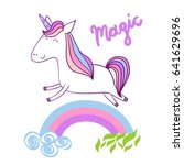 magic cute unicorn with stars.... | Shutterstock .eps vector #641629696