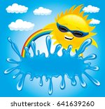 sun and splash of water with... | Shutterstock .eps vector #641639260