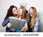 hipster girls friends taking... | Shutterstock . vector #641640988