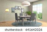 interior dining area. 3d... | Shutterstock . vector #641642026