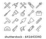 mechanical tools line vector... | Shutterstock .eps vector #641643340