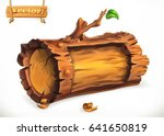 log  wooden sign. 3d vector... | Shutterstock .eps vector #641650819