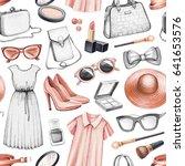 fashion illustrations. seamless ... | Shutterstock . vector #641653576