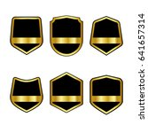 set of black shields with... | Shutterstock .eps vector #641657314