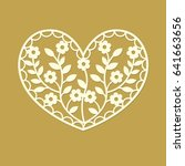 heart silhouette with flowers... | Shutterstock .eps vector #641663656