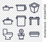 pot icons set. set of 9 pot... | Shutterstock .eps vector #641664760