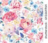 bright vintage natural floral... | Shutterstock . vector #641664964