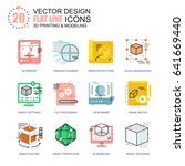 flat line 3d printing and...   Shutterstock .eps vector #641669440