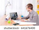 cad engineer's workplace with... | Shutterstock . vector #641676400