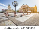 Stock photo panoramic view of famous gendarmenmarkt square with berlin concert hall and german cathedral in 641685358