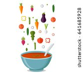 soup with vegetables isolated ... | Shutterstock .eps vector #641685928