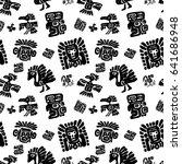 seamless maya pattern. black... | Shutterstock .eps vector #641686948