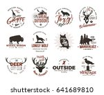 wild animal badges set and... | Shutterstock .eps vector #641689810