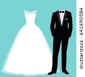 wedding card with the clothes... | Shutterstock .eps vector #641690584