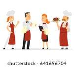restaurant staff characters... | Shutterstock .eps vector #641696704