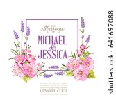 wedding invitation with blossom ... | Shutterstock .eps vector #641697088