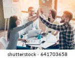 we did it  four cheerful young... | Shutterstock . vector #641703658
