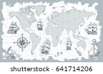hand drawn vector world map... | Shutterstock .eps vector #641714206
