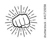 fist with sun rays on white... | Shutterstock .eps vector #641715058