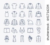 clothes linear icons. outline... | Shutterstock . vector #641716234
