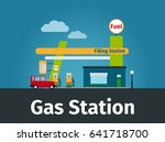 gas station image with car and... | Shutterstock . vector #641718700