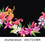 vector tropical leaves and... | Shutterstock .eps vector #641721484