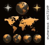 earth globes with detailed... | Shutterstock .eps vector #64172149