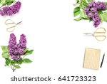 lilac flowers  diary notebook ... | Shutterstock . vector #641723323