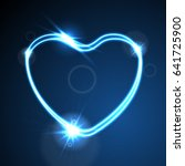 blue cyan heart  glowing neon... | Shutterstock .eps vector #641725900
