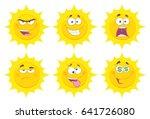 funny yellow sun cartoon emoji... | Shutterstock . vector #641726080